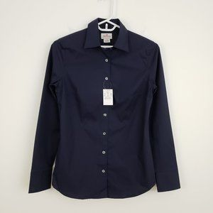 J.CREW Haberdashery Navy Blue Button Down Shirt XS
